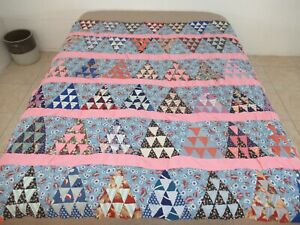 """Vintage Feed Sack Hand Pieced THE PYRAMID, Sugar Loaf Quilt TOP; 71"""" x 79"""""""