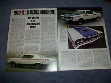 """1970 AMC Rebel Machine History Info Article """"Up With The American Way"""""""