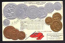 MONNAIES sur carte postale carte gaufrée des monnaies anglaises 1900 ANGLETERRE