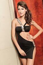 Fashion Gogo Style Party Dress Silver Sequins Black Slit Design V-shape Neckline