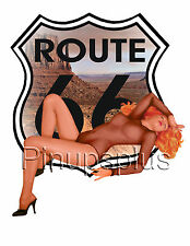 Vintage Route 66 USA Pin-up Waterslide Decal Sticker for guitars & more S288