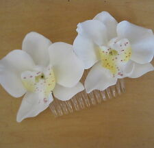 Double Cream White Orchid Silk Flowers Hair Comb,Luau, Wedding,Prom,Dance