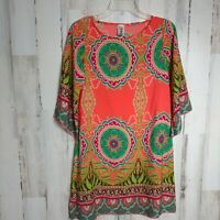 R. Rogue Boho Tunic Dress Women's Size Small 3/4 Sleeves Bright Fun Print