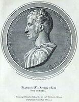 Francesco IV d'Asburgo-Este, Duca di Modena. Stampa Antica + Passepartout. 1901