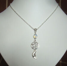 Pentagram Moonstone and Moon Goddess Charm Wicca Pagan Necklace in Gift Bag
