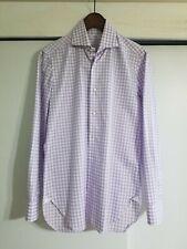 Pre-owned Barba Napoli Shirt Lilac Check Sz 15 38