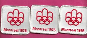 3 X RARE VINTAGE 1976 MONTREAL SUMMER OLYMPICS WHITE PATCH (INV# D1516)