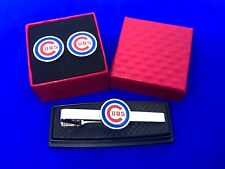 Chicago Cubs Tie Clip & Cuff link  Set Baseball Tie Bar NEW