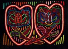 Kuna Indian Hand-Stitched Bee Flower Heart Mola-Panama 18042018L