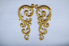 #3731B Gold Trim Fringe Swirl Art Abstract Design Embroidery Applique Patch/Pair