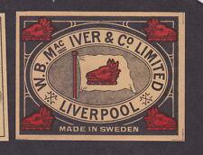 Ancienne étiquette de paquet allumette  Suède BN20172 Liverpool