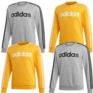 Adidas Mens Sweatshirt Tracksuit Crew Top Essential 3 Stripes Fleece Shirt
