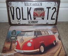 VOLKSWAGEN /VW  METAL WALL SIGNS, SET OF 2 ,30x20cm, LICENCE PLATE & T2 KOMBI