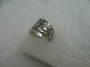 Wallace Sterling Silver spoon RING s 6 EMBOSSED Jewelry # 7218