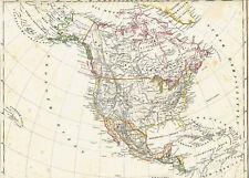 🦅🇺🇸🍁166 Jahre alte Landkarte AMERIKA USA Kanada Russisch Alaska MEXIKO 1853
