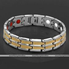 Mens Womens Silver+Gold Tone Steel Magnetic Link Chain Bracelet Wristband Bangle
