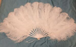 White Ostrich Feather Fan for Theatre or Burlesque Dancing