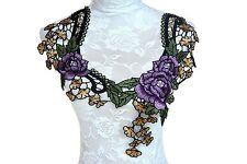 """11.5"""" W x 13"""" L Venise Bridal Floral Trim Lace Applique Wedding Cloth Making"""