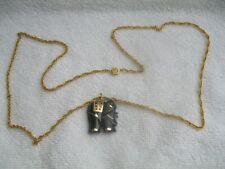 Halskette(vergoldet ungem) Anhänger Elefant Stein mit eingefasten Gold gemar.585