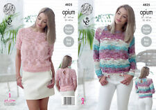 Easy Knit Sweater Jumper Ladies Knitting Pattern King Cole Opium Womens 4825