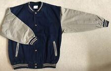 Dark Denim Baseball Jacket / Khaki Cotton Sleeves (Size M)