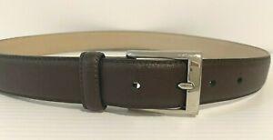 Oroton Leather Belt Dark Brown Textured Silver Matte Saffiano Size 32 Men Women
