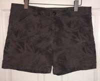 Eddie Bauer Cotton Stretch Gray Flat Front Camouflage Cargo Shorts Sz 14 EUC