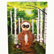 Owl Hand Knitted Finger Puppet Greeting card