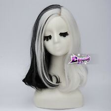 White Mixed Black 35CM Short Wig for Cruella Deville Anime Synthetic Cosplay Wig