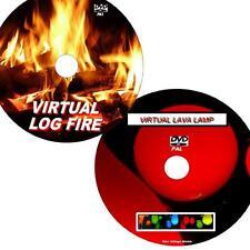 VIRTUAL LAVA LAMP & LOG FIRE GREAT 2 DVD VIDEO SET VIEW ON FLATSCREEN TV/PC NEW