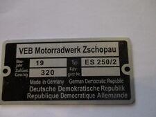 Nameplate IFA VEB GDR Zschopau MZ ES 250/2 S25
