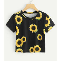 Women Casual Short Sleeve Loose T-Shirt Casual Sunflower Printed Crop Top Blouse