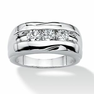 Men's .84 TCW Round Cubic Zirconia Ring Platinum-Plated