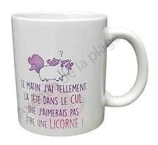 """Mug cadeau """"Licorne et tête dans le cul"""" idée cadeau tasse café originale neuf"""