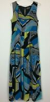 Jacqui E Womens Multi Coloured Sleeveless Long Dress with Back Zipper Size 12