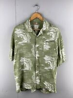 George Mens Green Vintage Short Sleeve Hawaiian Button Up Shirt Size Medium