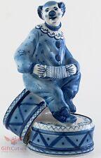 Gzhel Porcelain Clown sit on drum Figurine handmade & painted souvenir