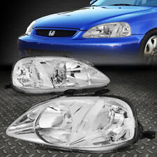FOR 99-00 HONDA CIVIC CHROME HOUSING CLEAR CORNER HEADLIGHT REPLACEMENT HEADLAMP