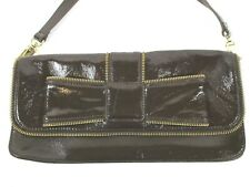 HONEY BY BUMBLE COLLECTION Dark Brown Patent Leather Purse Bow & Zipper Detail