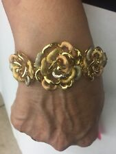 """18k Yellow , White And Rose Gold Flower Bracelet 7"""""""