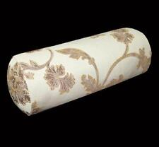 HC521g Lt. Gold Lt. Brown Floral Jacquard Cotton Bolster Cushion Cover Yoga Case