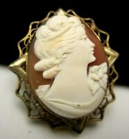 """Antique Genuine Shell Carved Cameo 1/20th GF Oval Frame 1-1/4"""" Brooch Pendant M9"""