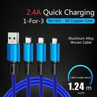 3 in 1 Multi Type C Cable Micro USB Data Sync Fast Charging for iPhone Android