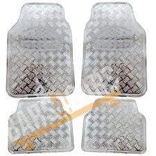 SILVER Checker stile Lucido per Auto in Gomma Tappetini Set Smart Fortwo