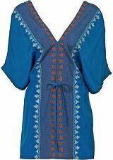 Tunika Longbluse Strandkleid Hippie Boho Style azurblau Gr.44/46 NEU 934828
