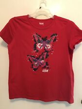 July 4th Women's Tee Shirt Red w Blue Red & White Butterflies USA on the front