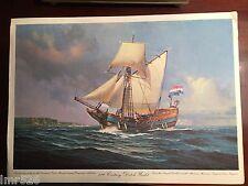 "Vintage 17th Century Dutch Yacht Print 15""x11"" A. Crabtree model~Mariners Museum"