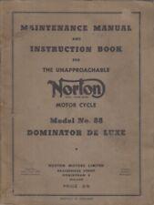 NORTON MODEL 88 DOMINATOR DE-LUXE FACTORY MAINTENANCE MANUAL & INSTRUCTION BOOK