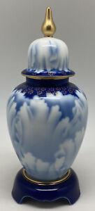 Vintage Japanese Fukagawa Blue & White lidded Vase W/ stand Signed