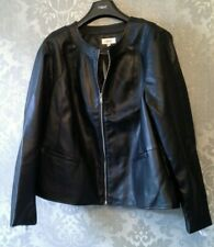 NEXT SIZE UK 18 BLACK LEATHER LINED SILVER ZIPPED JACKET COAT BNWT RRP £50